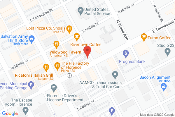 Mapped location of Shoals Theatre