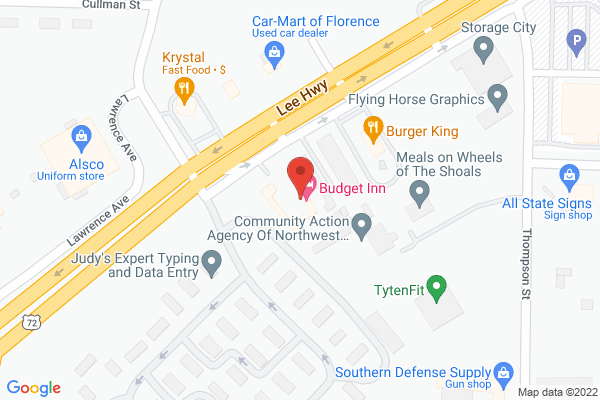 Mapped location of Budget Inn