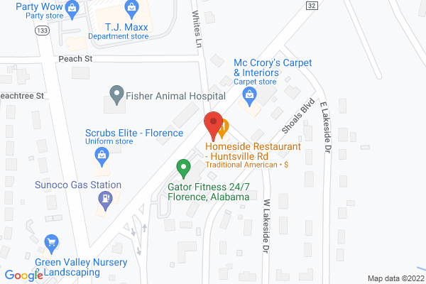 Mapped location of Homeside Restaurant-Huntsville Road