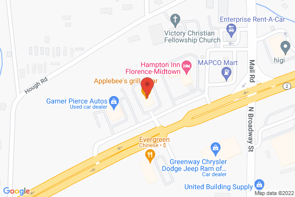 Mapped location of Applebee's