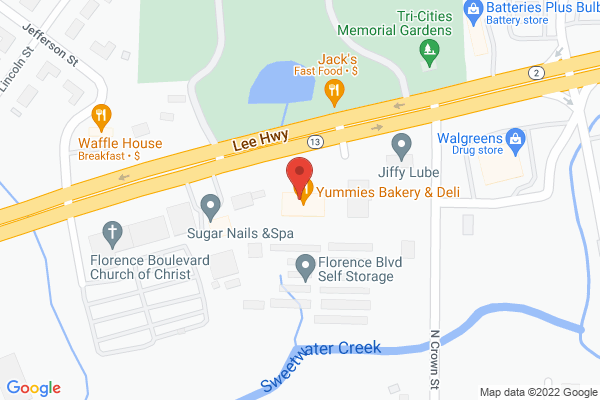 Mapped location of Yummie's Bakery & Deli
