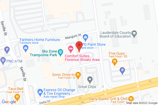 Mapped location of Comfort Suites