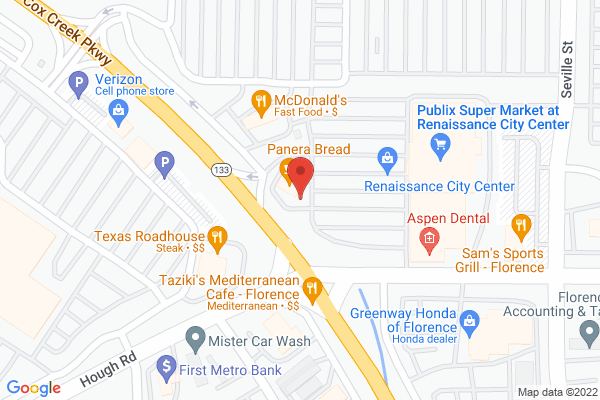 Mapped location of Panera Bread