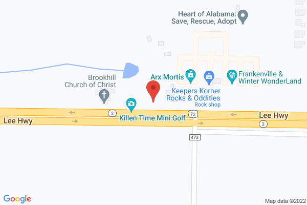 Mapped location of Killen Time Escape Room