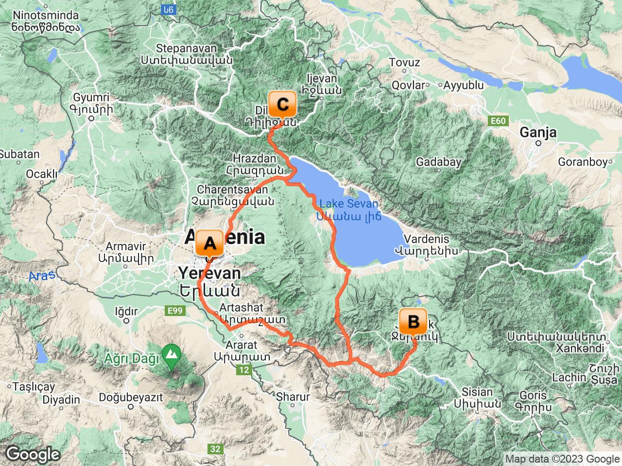 Route van de reis