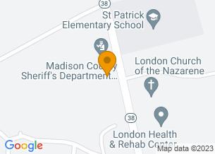 Google Maps map of 225 Elm Street, <br/>London, OH 43140