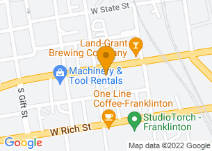 Google Maps map of 463 W Town St, <br/>Columbus, OH 43215