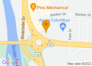 Google Maps map of 6520 Riverside Dr, <br/>Dublin, Ohio 43017