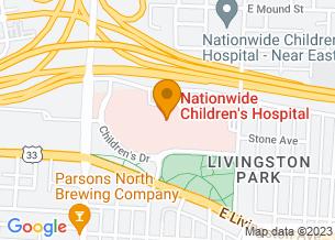 Google Maps map of Nationwide Children's Hospital, Education Center, Stecker Auditorium, <br/>Columbus, OH 43205