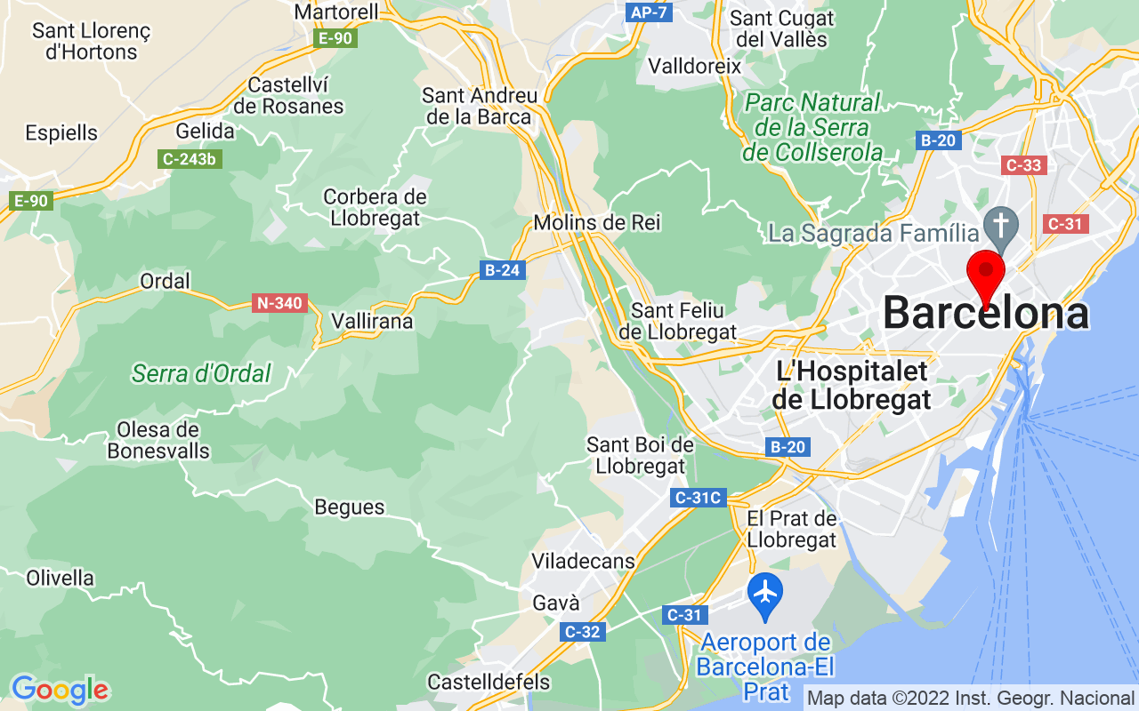 Google Map of Barcelona, Spain