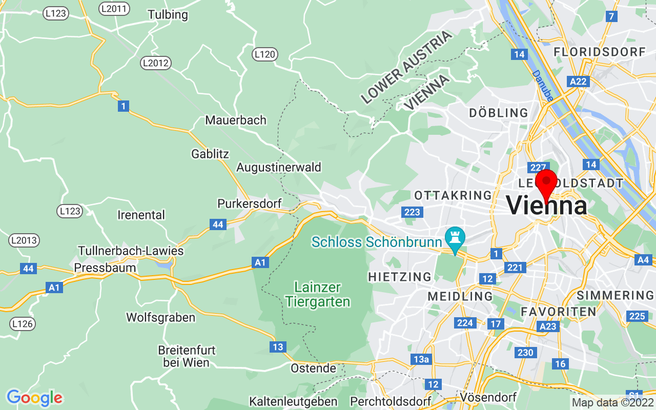 Google Map of Vienna, Austria
