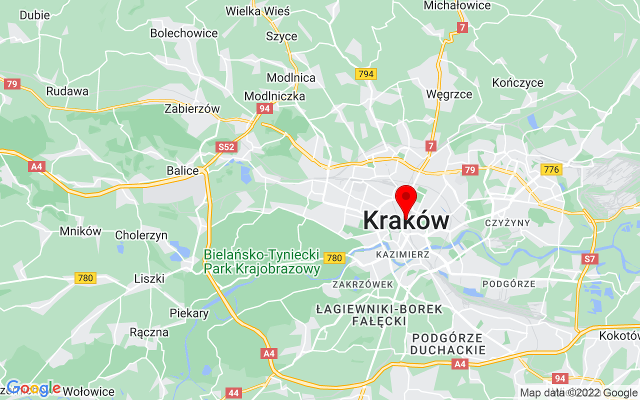 Google Map of Krakow, Poland