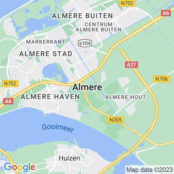Kaart van Almere