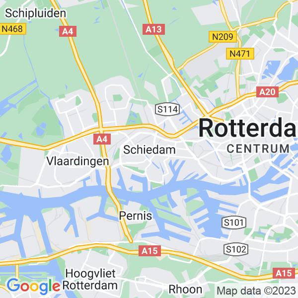 Kaart van Schiedam