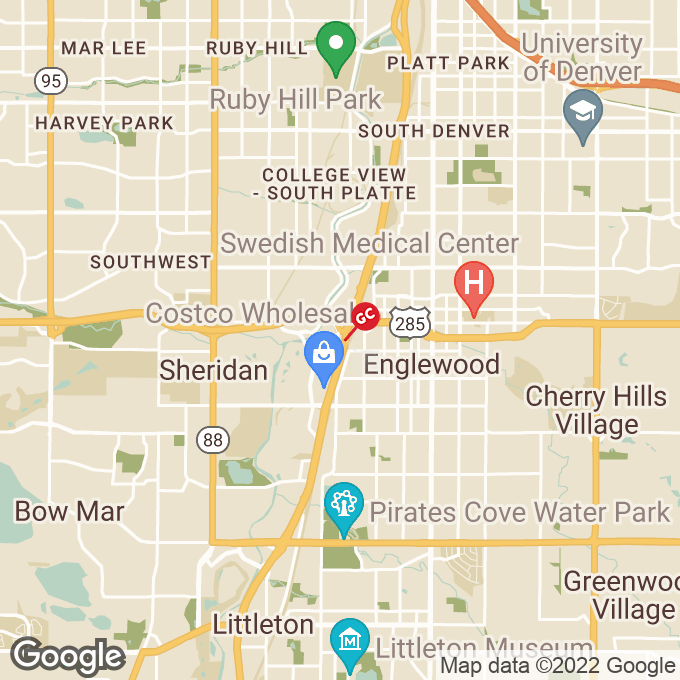 Golden Corral S. Sante Fe Dr., Sheridan, CO location map