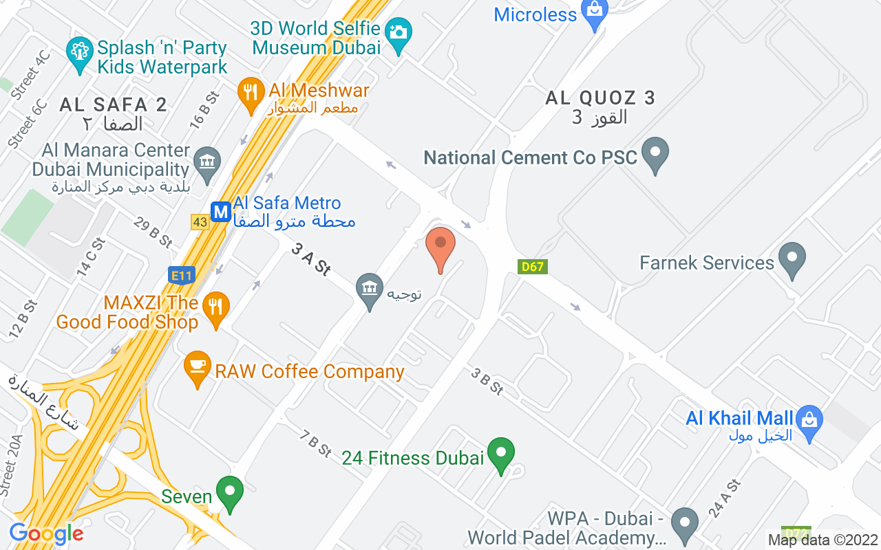 Google Map of 25.1540568075484,55.2347548611729