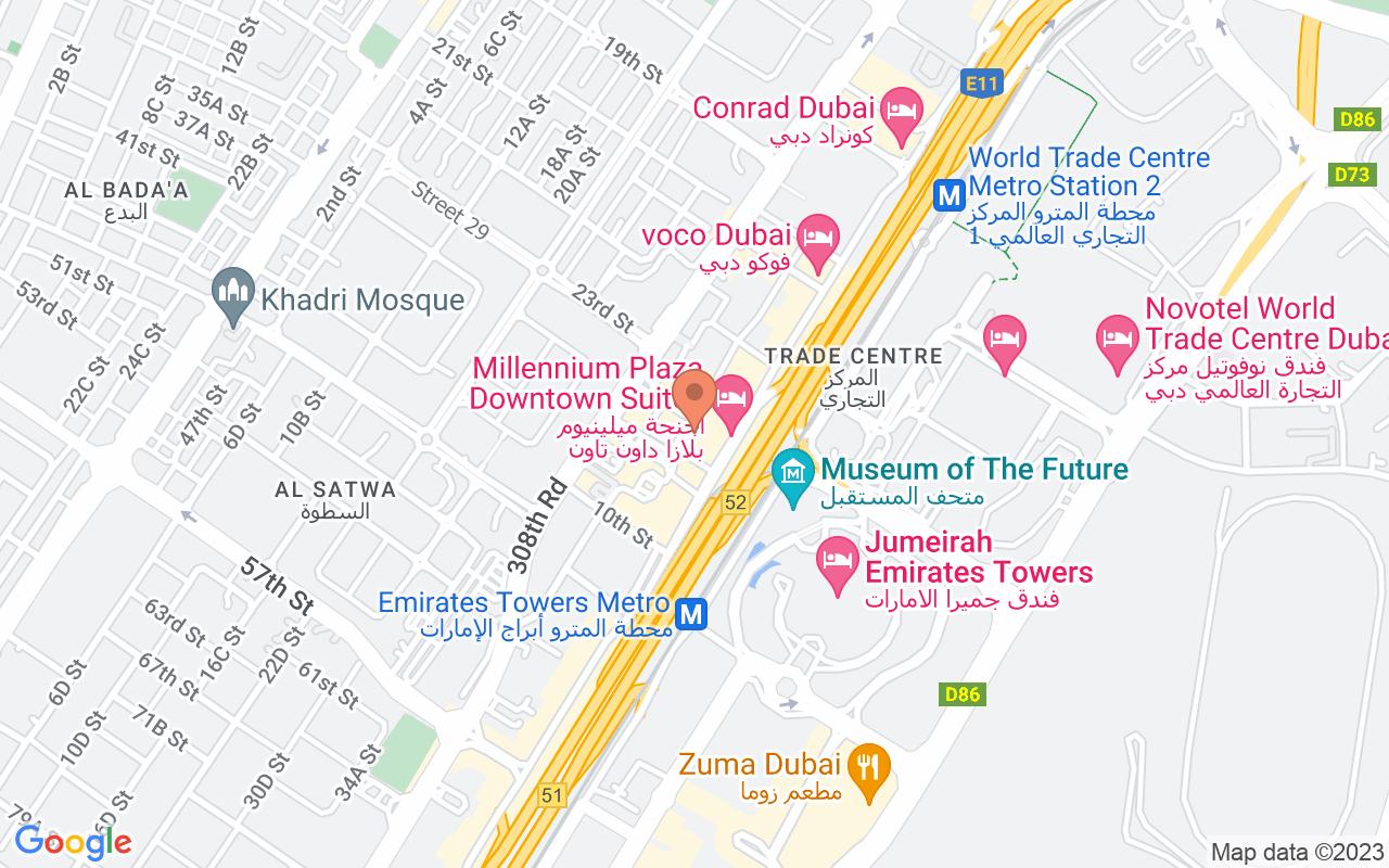 Google Map of 25.2205481095085,55.2799843358746