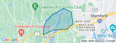Map of Mianus, Greenwich CT