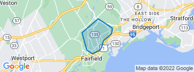Map of University, Fairfield CT