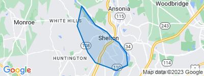 Map of Shelton Center, Shelton CT