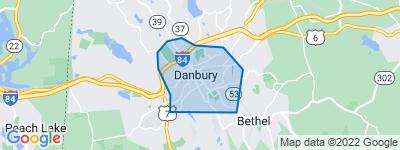 Map of City Center, Danbury CT