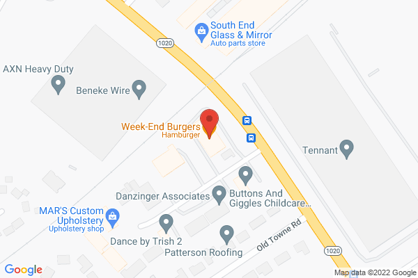 Mapped location of Week-End Burgers