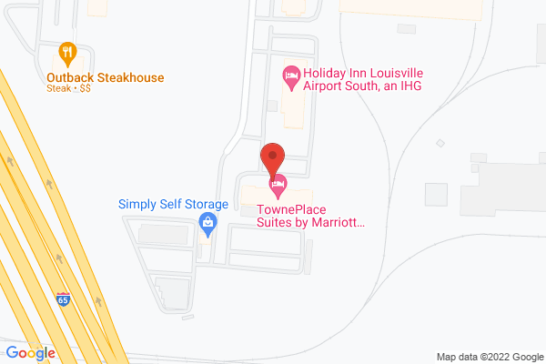 Mapped location of TownePlace Suites by Marriott Louisville Airport