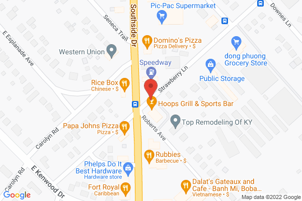 Mapped location of Hoops Grill and Sports Bar