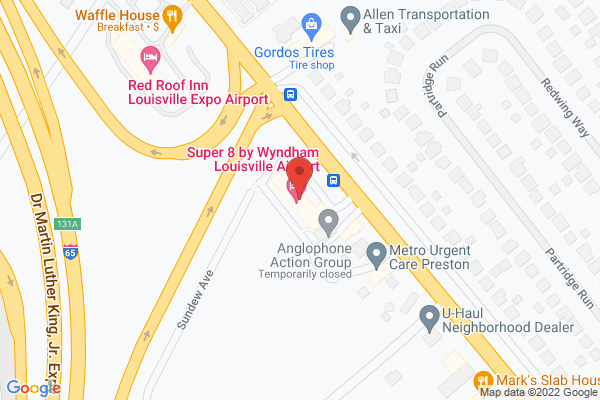 Mapped location of Super 8 by Wyndham Louisville Airport