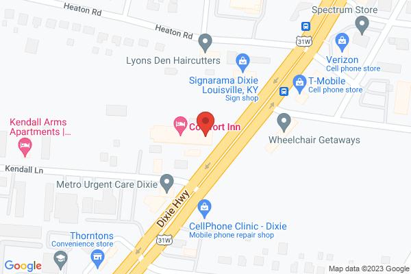 Mapped location of Comfort Inn Southwest