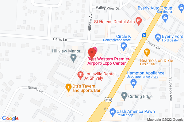 Mapped location of Best Western Premier Louisville Airport/Expo Center Hotel