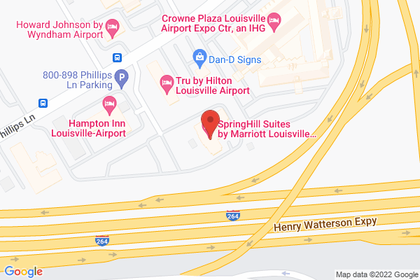 Mapped location of SpringHill Suites Marriott Louisville Airport