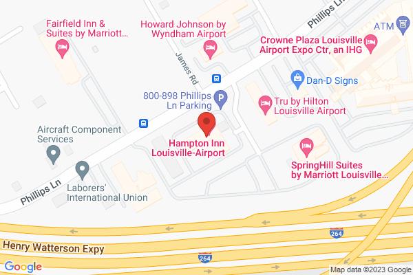 Mapped location of Hampton Inn Louisville-Airport