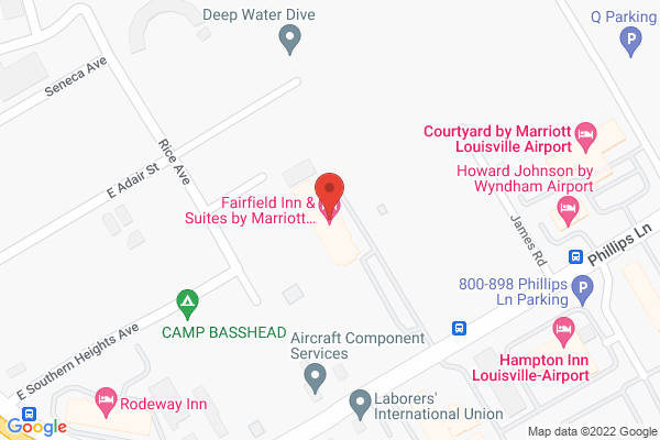 Mapped location of Fairfield by Marriott Inn & Suites Louisville Airport