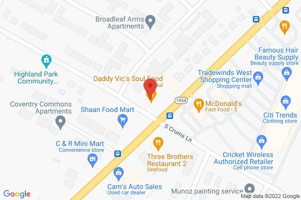 Mapped location of Daddy Vic's Soul Food
