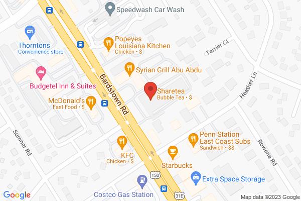 Mapped location of Sharetea