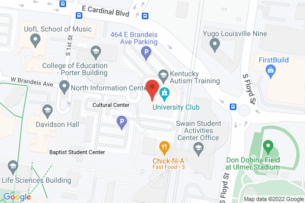 Mapped location of University Club Louisville