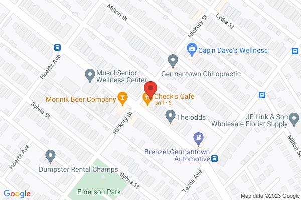Mapped location of Check's Café