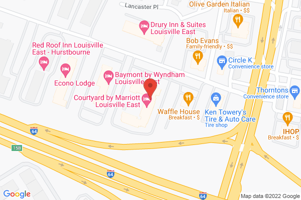 Mapped location of Courtyard by Marriott Louisville East
