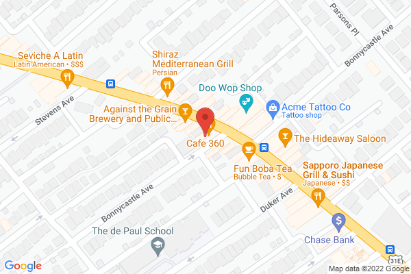 Mapped location of Café 360