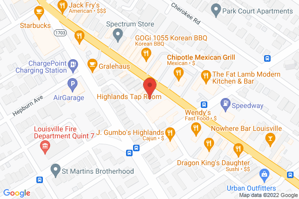 Mapped location of Highlands Taproom Grill