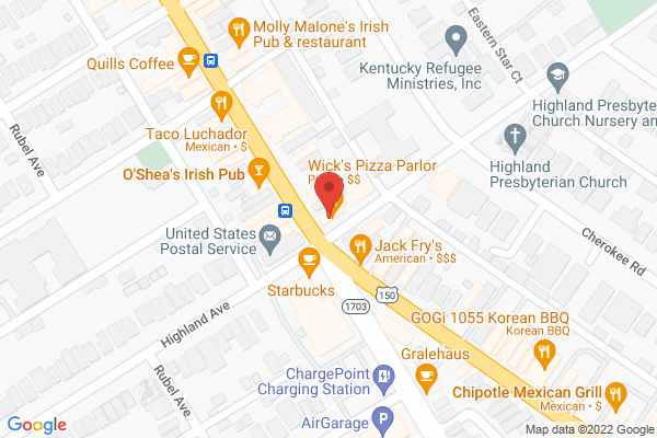 Mapped location of Wick's Pizza & Pub