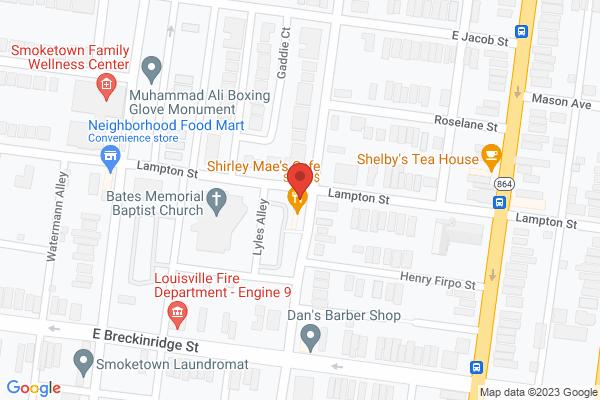 Mapped location of Shirley Mae's Café