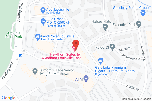 Mapped location of Hawthorn Suites by Wyndham Louisville East