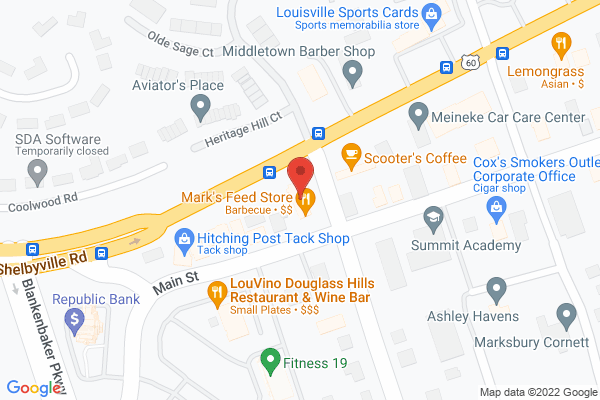 Mapped location of Mark's Feed Store Bar-B-Q (Shelbyville Rd)