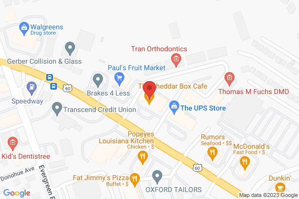Mapped location of Cheddar Box Café