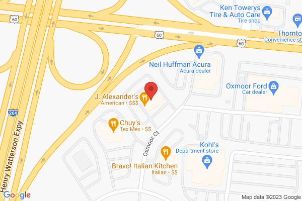 Mapped location of J. Alexander's Restaurant