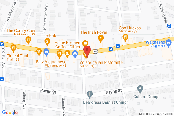 Mapped location of Volare Ristorante