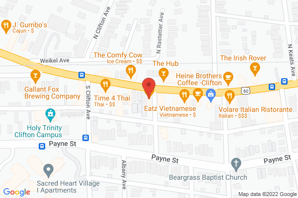 Mapped location of Clifton's Pizza