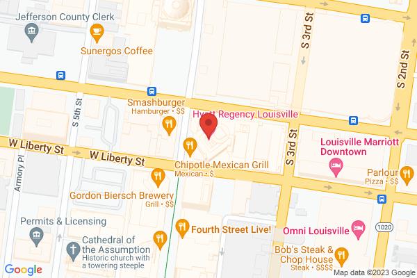 Mapped location of Hyatt Regency Louisville